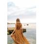 Горчичное асимметричное платье в цветочек