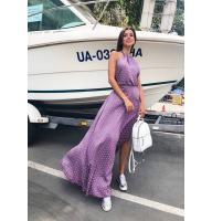 Длинное платье в горошек с открытой спиной