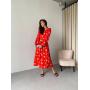 Красное платье миди в цветок из вискозы
