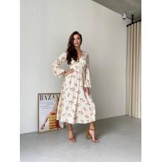 Бежевое платье миди в цветок из вискозы