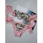 Розовый купальник бандо в пайетках