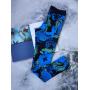 Синие спортивные лосины с принтом