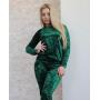 Изумрудный зеленый бархатный спортивный костюм