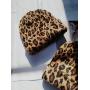 Коричневая леопардовая шапка бини