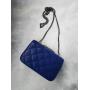Синяя стеганая маленькая сумка через плечо на цепочке в стиле Chanel