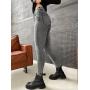 Серые джинсы скинни высокой посадки