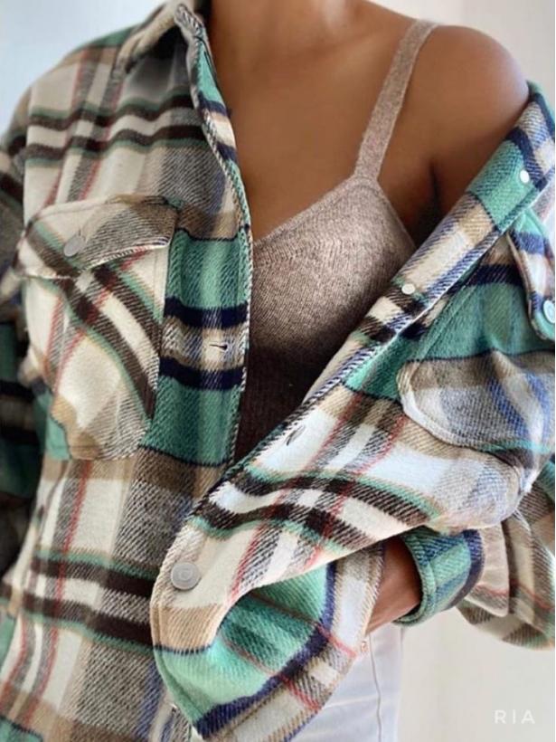 Теплая рубашка в модную клетку RIA
