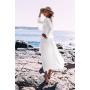 Белая пляжная туника-накидка с кружевом