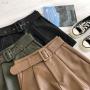 Кожаные шорты с широким поясом RIA