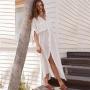 Белая длинная пляжная туника-рубашка