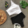 Черно-белый купальник монокини