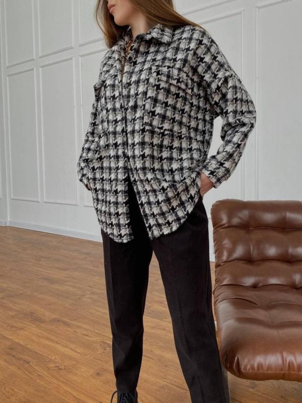 Твидовая рубашка в гусиную лапку