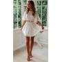 Белое хлопковое платье с цветочной вышивкой