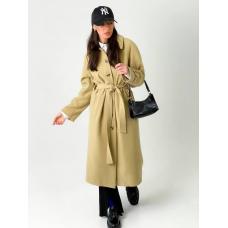 Бежевое пальто тренч миди