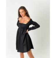 Черное платье бэбидол с драпировкой