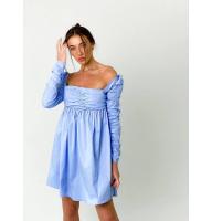 Голубое платье бэбидол с драпировкой