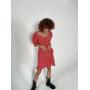 Красное короткое платье в цветочек