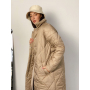 Бежевый стеганный пуховик пальто