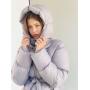 Серый короткий зимний пуховик с капюшоном TM ZEFFIR