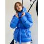 Синий короткий зимний пуховик с капюшоном TM ZEFFIR