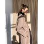 Бежевое демисезонное кашемировое пальто миди
