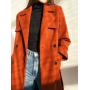 Длинное двубортное терракотовое пальто