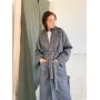 Длинное серое пальто кимоно 100% шерсть