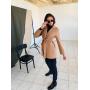 Кашемировое бежевое пальто-пиджак с поясом
