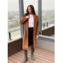 Коричневое кашемировое пальто с поясом
