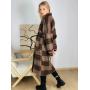Коричневое пальто-кимоно в клетку из 100% шерсти