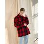 Шерстяное пальто рубашка в черно-красную клетку