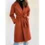 Терракотовое демисезонное кашемировое пальто