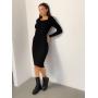 Черное вязаное платье миди в рубчик ZEFFIR