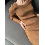 Горчичное вязаное платье миди в рубчик ZEFFIR