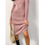 Розовое вязаное платье миди в рубчик ZEFFIR
