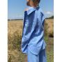 Голубой льняной костюм тройка