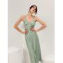Мятное шелковое платье комбинация миди
