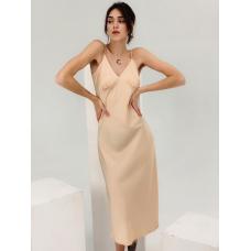 Нюдовое шелковое платье комбинация