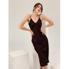 Шелковое платье комбинация бургунди