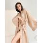 Бежевое длинное льняное платье кимоно