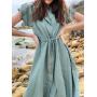 Бирюзовое льняное платье рубашка
