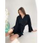 Черное короткое платье-кимоно