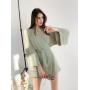 Фисташковое короткое платье-кимоно