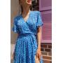 Голубое платье миди с принтом на запах