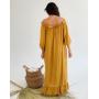 Горчичное длинное льняное платье