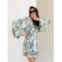 Хлопковое платье кимоно с листьями