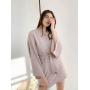 Пудровое короткое платье-кимоно