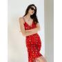 Красное бельевое платье миди в цветочек