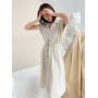 Кремовое льняное платье рубашка