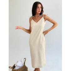 Кремовое платье комбинация миди из льна